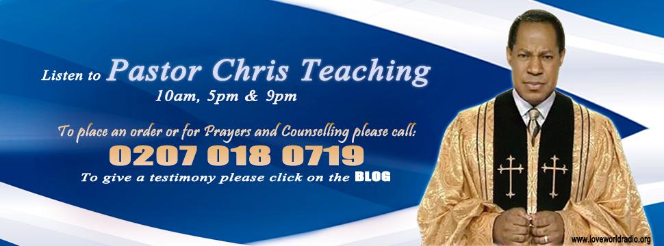 Loveworld Radio Banner. Listen to Pastor Chris Teaching